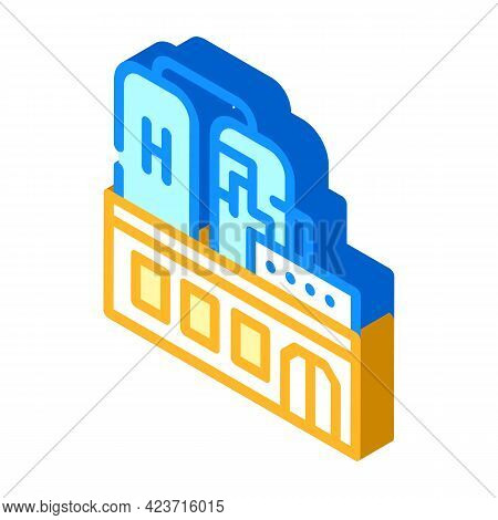 Factory Production Hydrogen Isometric Icon Vector. Factory Production Hydrogen Sign. Isolated Symbol