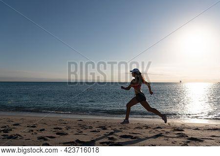 Running Is My Favorite. Fit Girl Run Along Seaside. Woman Runner. Trail Running. Jogging Activities