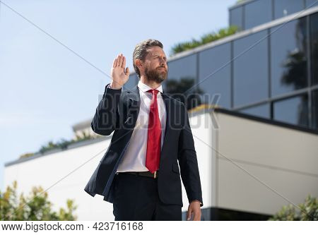 Handsome Man Businessman In Suit And Red Tie Outdoor Show Hello Or Stop Gesture, Gesturing