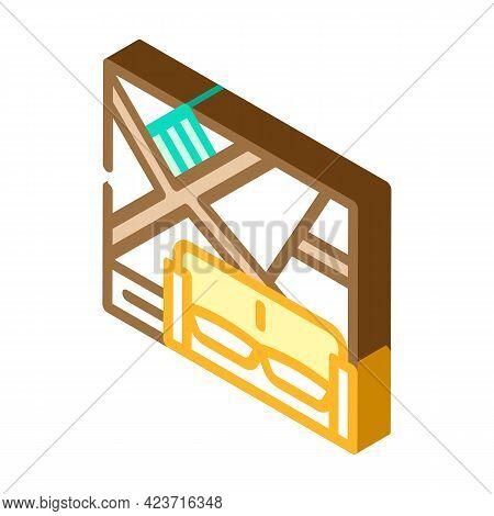 Wall With Slanting Shelves Isometric Icon Vector. Wall With Slanting Shelves Sign. Isolated Symbol I