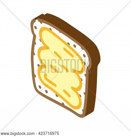 Bread Piece With Peanut Butter Isometric Icon Vector. Bread Piece With Peanut Butter Sign. Isolated