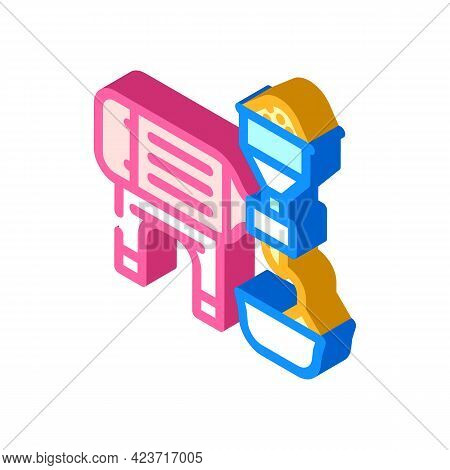 Industrial Crusher For Production Peanut Butter Isometric Icon Vector. Industrial Crusher For Produc