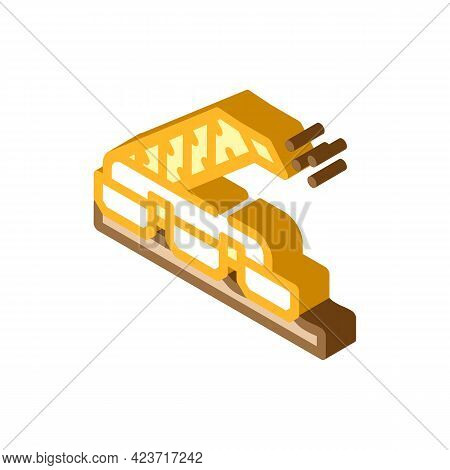 Sod Peat Collector Machine Isometric Icon Vector. Sod Peat Collector Machine Sign. Isolated Symbol I