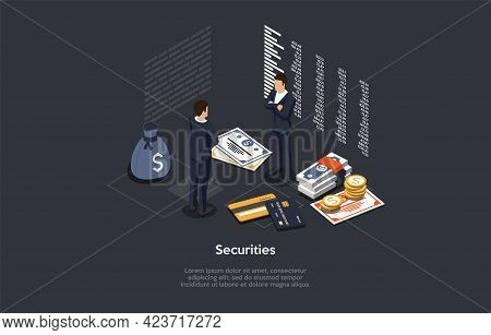 Securities Of Personal Money And Business Finances Concept Design. Vector Illustration In Cartoon 3d