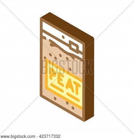 Sachet Bag Peat Isometric Icon Vector. Sachet Bag Peat Sign. Isolated Symbol Illustration