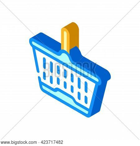 Shopping Plastic Basket Isometric Icon Vector. Shopping Plastic Basket Sign. Isolated Symbol Illustr