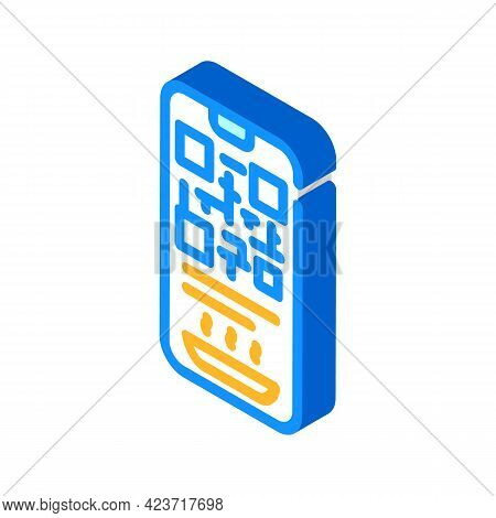 Qr Code To Receive Food In Canteen Isometric Icon Vector. Qr Code To Receive Food In Canteen Sign. I