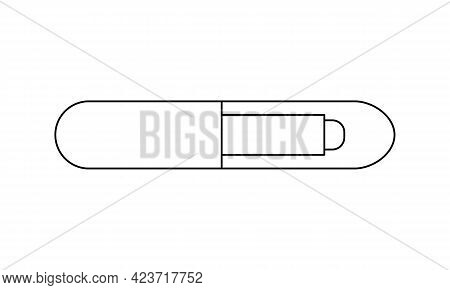 Pets Microchip Linear Icon Isolated On White Background. Dogs, Cats And Other Animals Microchipping,