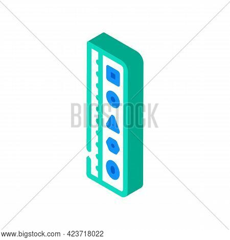 Roller Stationery Tool Isometric Icon Vector. Roller Stationery Tool Sign. Isolated Symbol Illustrat
