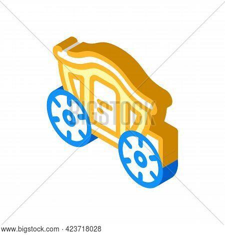 Coach Transport Wedding Isometric Icon Vector. Coach Transport Wedding Sign. Isolated Symbol Illustr