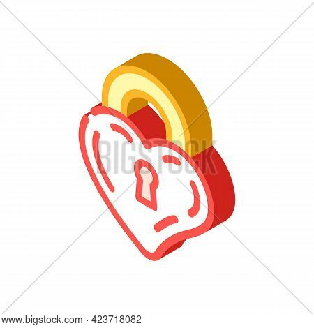 Lock In Heart Form Isometric Icon Vector. Lock In Heart Form Sign. Isolated Symbol Illustration