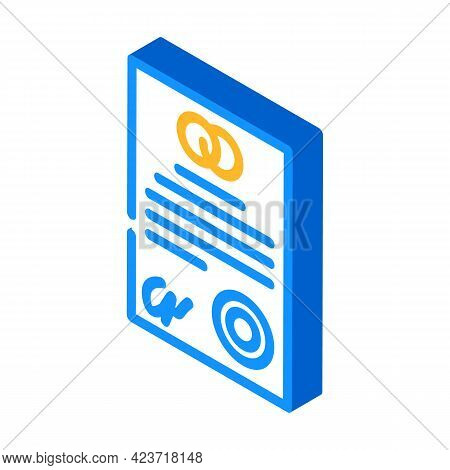 Marriage Contract Isometric Icon Vector. Marriage Contract Sign. Isolated Symbol Illustration