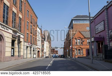 Nottingham, Nottinghamshire, England- June 1, 2021. George Street Almost Empty With No Cars And No P