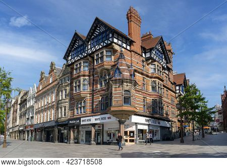 Nottingham, Nottinghamshire, England- June 1, 2021. Buildings At The Old Market Square With Few Peop