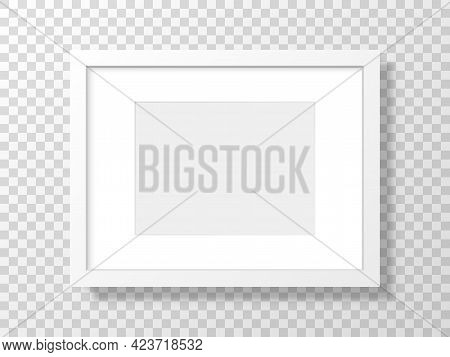 White Frame On Transparent Backdrop. Realistic Picture Mockup. Clean Template With Soft Shadow. 3d B