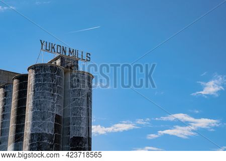 Yukon, Oklaholma - May 6, 2021: Close Up Of The Famous Yukon's Best Flour, A Famous Mill Along Route