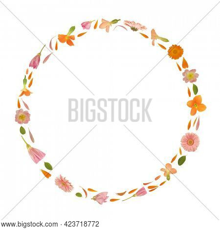 Art floral round frame made of beautiful natural flowers. Trendy colorful blooming abstract idea with circle composition. Botany concept with leaves, blossoms, petals  and buds