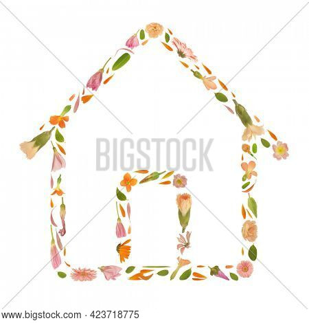Art floral house frame made of beautiful natural flowers. Trendy colorful blooming abstract idea with home composition. Botany concept with leaves, blossoms, petals  and buds