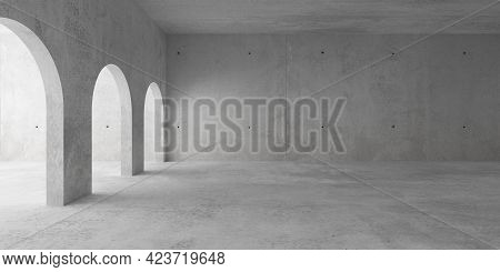 Abstract Empty, Modern Concrete Room With Archways On The Left And Rough Floor - Industrial Interior