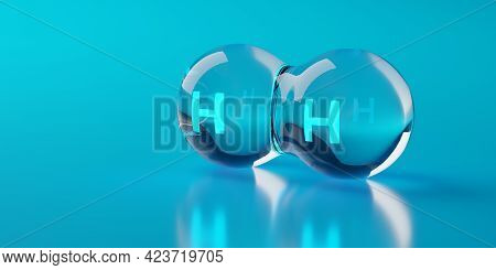 Single Abstract Glass Hydrogen H2 Molecule Over Blue Background, Clean Energy Or Chemistry Concept,