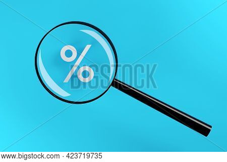 White Percent Sign Or Symbol Under Magnifying Glass Over Cyan Background, Sale Or Promotion Concept,