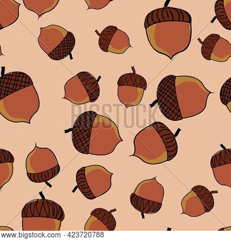 Acorns Illustration Scattered Over Tan Background Vector Repeat Pattern Surface Pattern Design