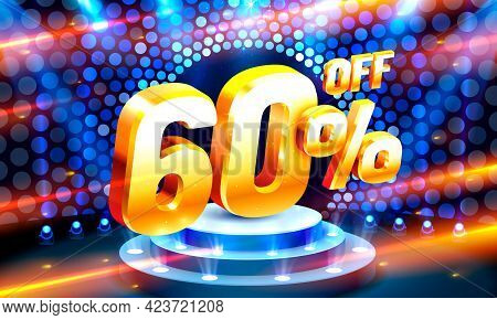 Up To 60 Off Sale Banner, Promotion Flyer, Retro Label. Vector