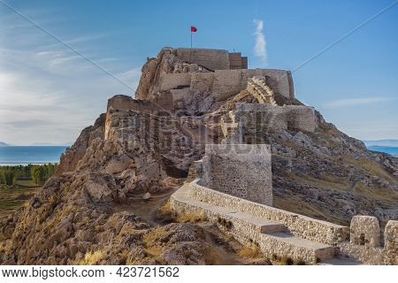 Massive Fortress And Citadel Of Van Fortress, Van, Turkey. It Was Founded In 9 Century Bc By Urartia