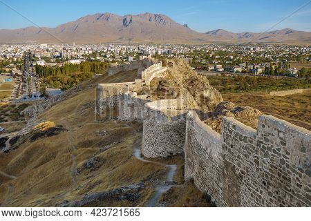 Massive Wall And Towers Of Van Fortress, Van, Turkey. Fortress Was Founded In 9 Century Bc By Urarti