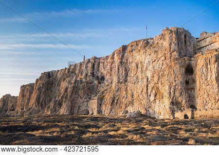 Panoramic View Onto Ancient Van Rock With Its Famous Fortress Tushpa On Top, & Remains Of Buildings