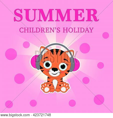 Tiger Cub Listens To Music.tiger Cub On A Pink Background Listens To Music On Headphones