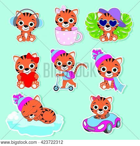 Stickers In The Form Of Tiger Cubs.stickers In The Form Of The Symbol Of The Year 2022.vector Illust