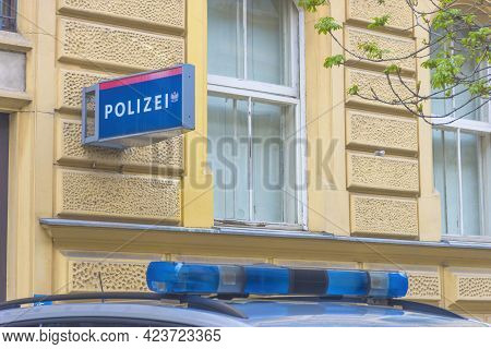 Austrian Federal Police Car Lights On The Street In Front Of The Police Headquarters In The Old City