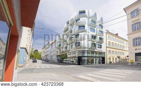 Graz, Austria-25.04.2021: Apartments In Argos Modern Residential Building, Planned By Famous Zaha Ha