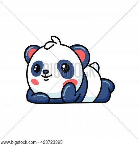 Vector Illustration Of Cute Panda Lying Down Cartoon