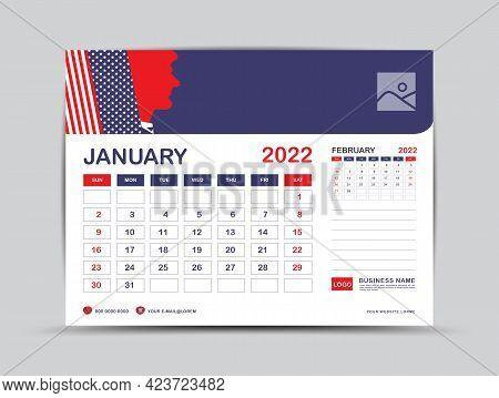 Calendar 2022 Design, January Month Template, Desk Calendar 2022 Layout, Usa Flag Background Concept