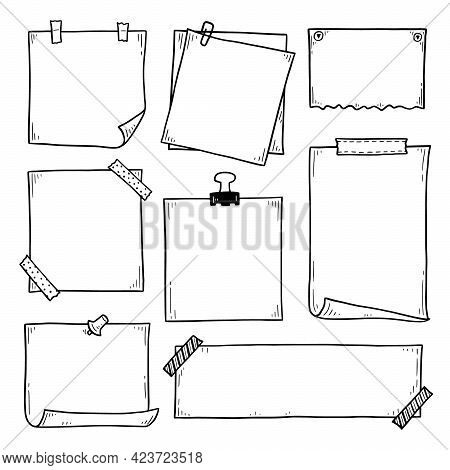 Hand Drawn Set Of Paper Memo Sticky. Doodle Sketch Style. Reminder Paper Sticker For Pin Notice, Tex