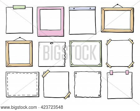 Hand Drawn Set Of Paper Sticker, Photo Frame, Picture Border. Doodle Sketch Style. Frame Of Square A