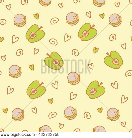 Doodle Seamless Pattern Of Cake Macaroons And Apples. Perfect For Scrapbooking, Textile And Prints.