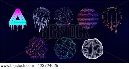 Retro Futuristic Universal Shapes - Spheres And Circle Elements With Glitch, Defect, Or Liquid Effec