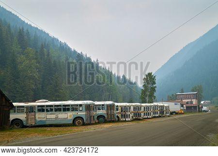 Sandon, British Columbia, Canada - August 24, 2018. Sandon Historic Buses. Old Vancouver Buses Parke