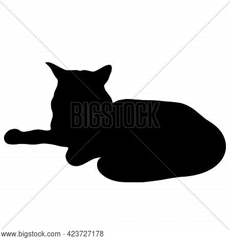 Black Cat Vector Icon. The Pet Is Resting. Hand-drawn Black Silhouette Of An Animal. Beast Illustrat