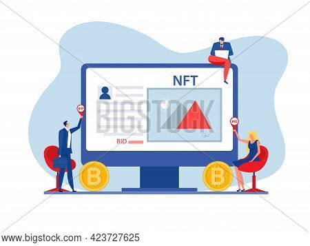 Auction Business Selling Animal Painting Concept Of Selling Non-fungible Token At Auction Nft Techno