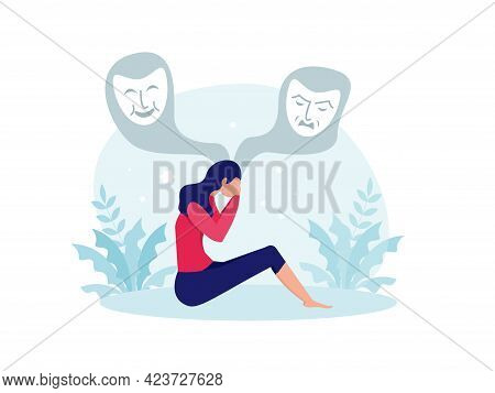 Bipolar Disorder, Woman Suffers From Hormonal With A Change In Mood. Mental Health Vector Illustrati