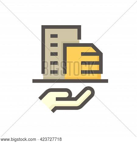 Housing Estate Or Condominium And Agent Or Realtor Vector Icon. That High Building And People Specia