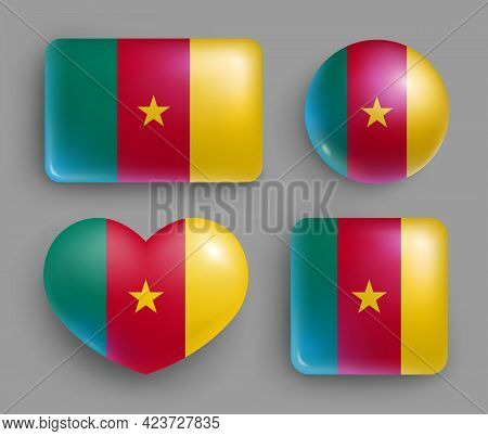 Set Of Glossy Buttons With Cameroon Country Flag. Western Africa Republic National Flag, Shiny Geome