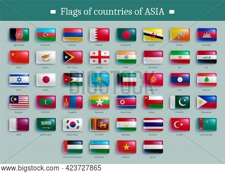 Flags Of Countries Of Asia Banner Template Design. Asian Countries National Flags Glossy Buttons Of
