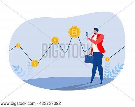 Businessman Investor Watch To Finance Bitcoin Graph Data Stock Exchange Traders Concept Vector Illus