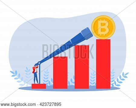 Businessman Searches For A New Growth Currency,bitcoin Opportunities And New Profits Vector Illustra