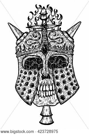 Black And White Scary Illustration Of Vector Skull Wearing Knight Helm With Horns. Mystic Isolated D